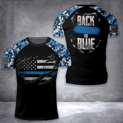 Back The Blue EZ05 2908 All Over T-Shirt - Hyperfavor