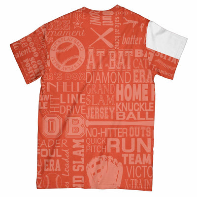 Baseball Pitcher Orange White EZ07 2803 All Over T-Shirt - Hyperfavor