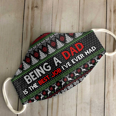 Being A Dad Is My Best Job Ugly Sweater Christmas EZ02 1110 Face Mask - Hyperfavor