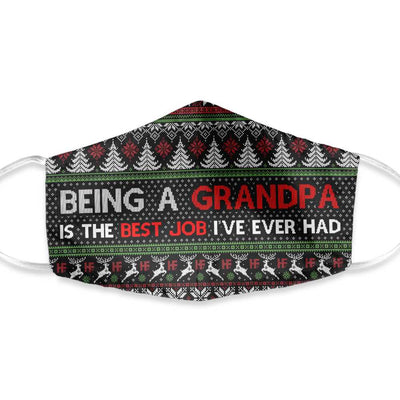 Being A Grandpa Is My Best Job Ugly Sweater Christmas EZ02 1110 Face Mask - Hyperfavor