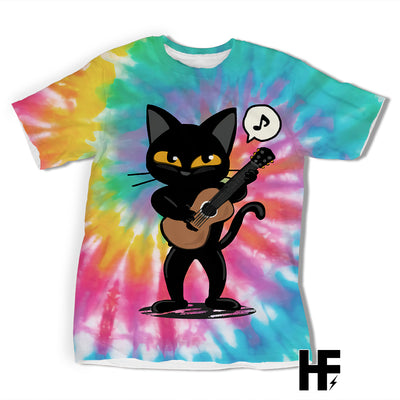 Black Cat Playing Guitar Rainbow Tie-Dye Version EZ10 2003 All Over T-Shirt - Hyperfavor