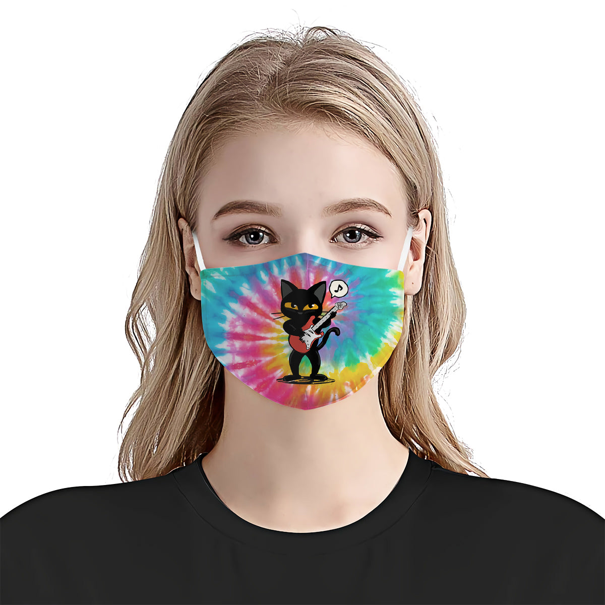 Blackcat Playing Guitar EZ10 0107 Face Mask 1 - Hyperfavor