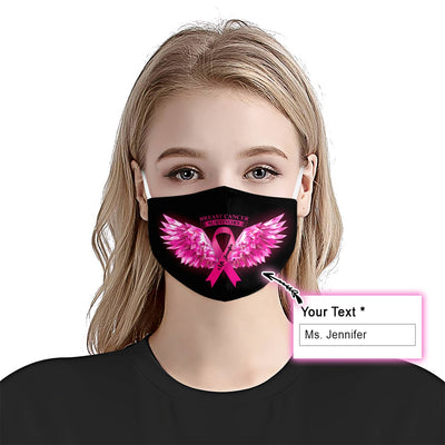 Breast Cancer Awareness Wings EZ10 2005 Custom Face Mask - Hyperfavor