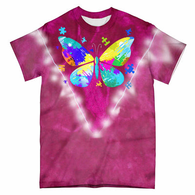 Butterfly Autism Tie Dye EZ09 0104 All Over T-Shirt - Hyperfavor