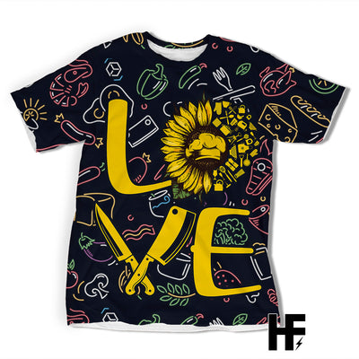 Chef Love Sunflower EZ06 1603 All Over T-Shirt - Hyperfavor
