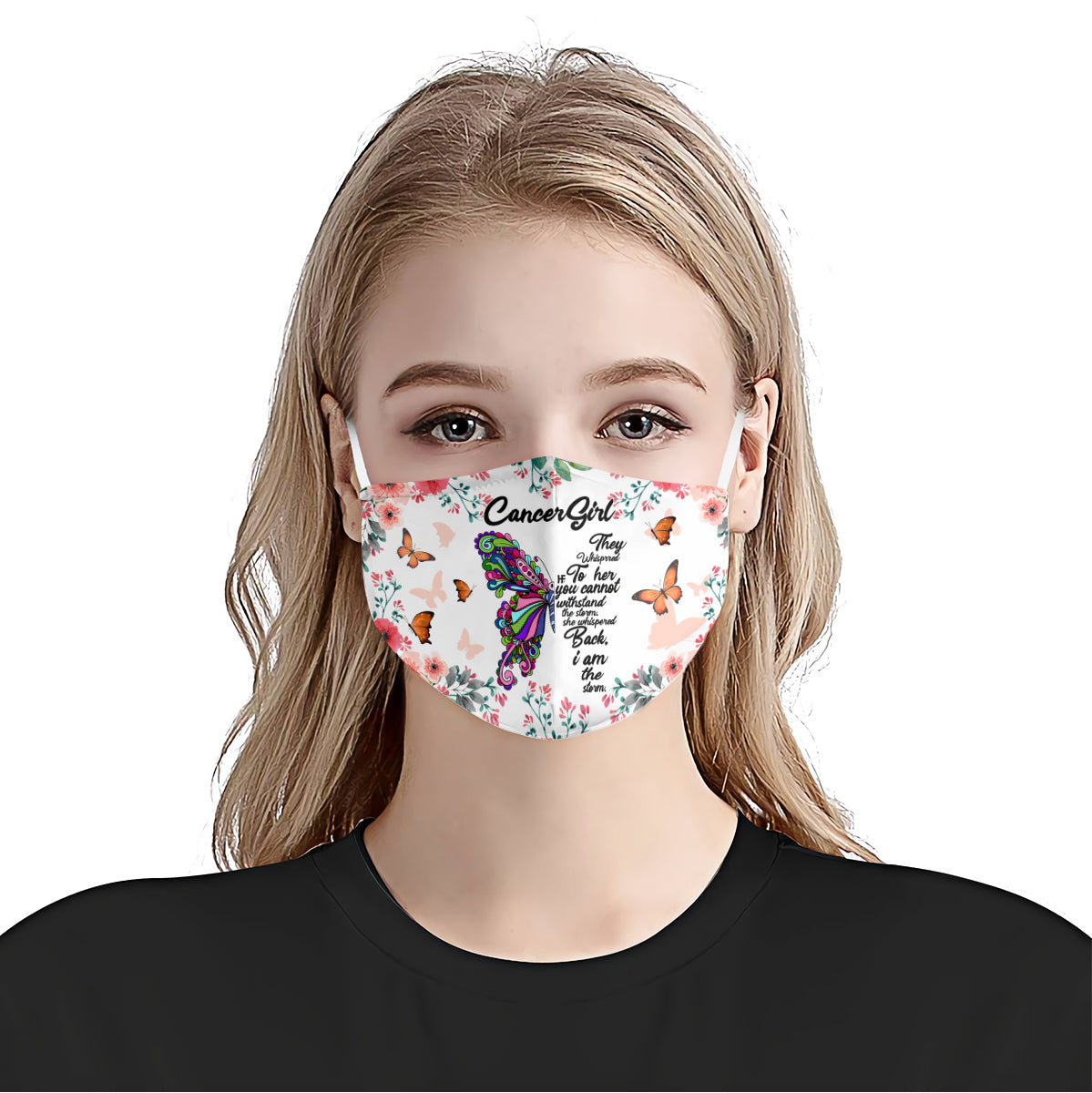 White Cancer Girl Butterfly EZ16 1307 Face Mask - Hyperfavor