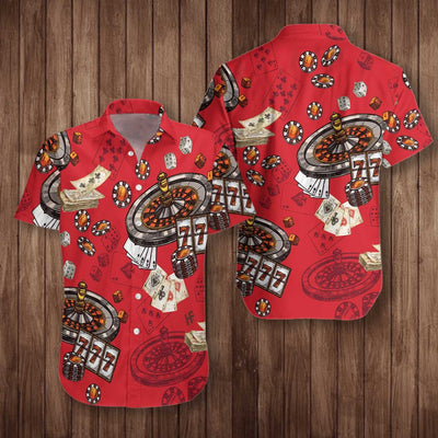 Casino Pattern Red Background EZ24 2901 Hawaiian Shirt - Hyperfavor