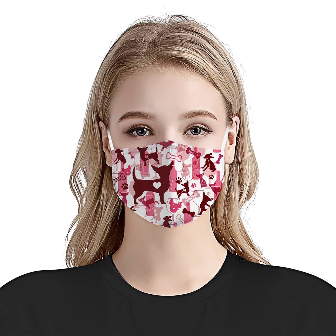 Chihuahua & Wine Pattern EZ07 2707 Face Mask - Hyperfavor