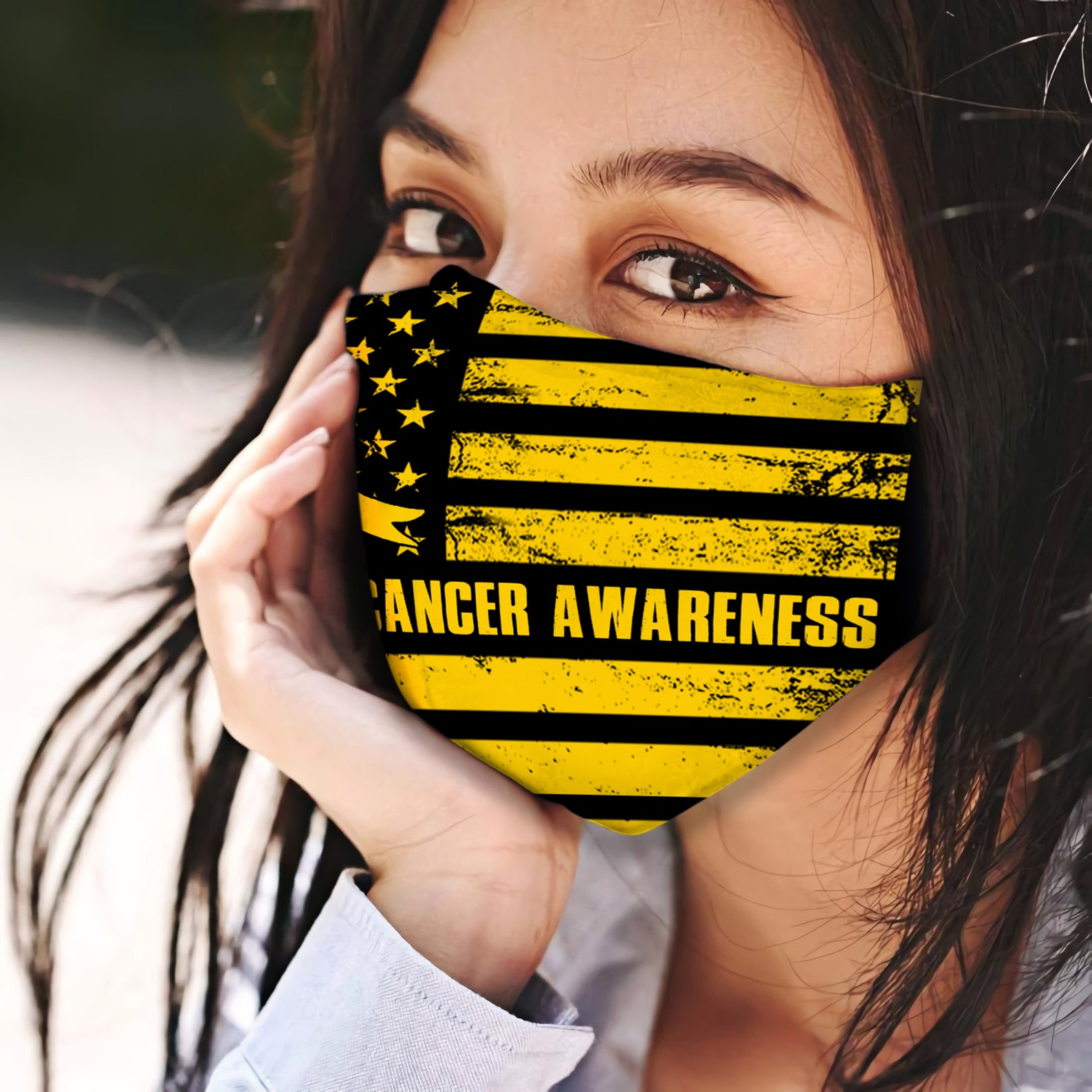 Childhood Cancer Awareness American Flag EZ06 0305 Face Mask - Hyperfavor