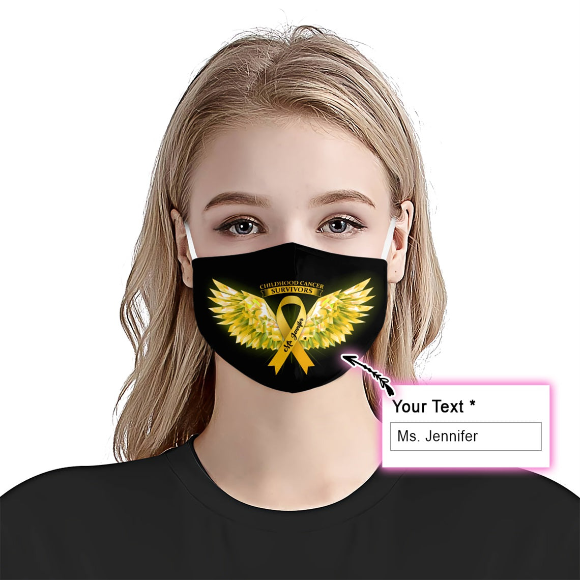 Childhood Cancer Awareness Wings EZ10 2005 Custom Face Mask - Hyperfavor