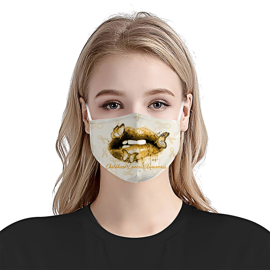 Childhood Cancer Awareness Lipstick Butterfly EZ01 2704 Face Mask - Hyperfavor