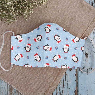 Christmas Seamless Pattern With Cute Penguin EZ22 1010 Face Mask - Hyperfavor