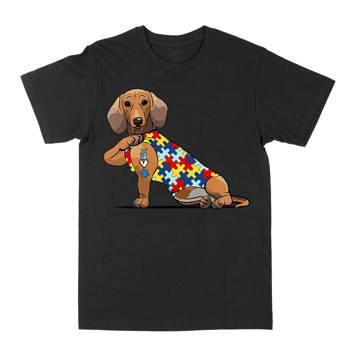 Dachshund Autism Awareness Peace Love EZ06 0504 Classic T-shirt