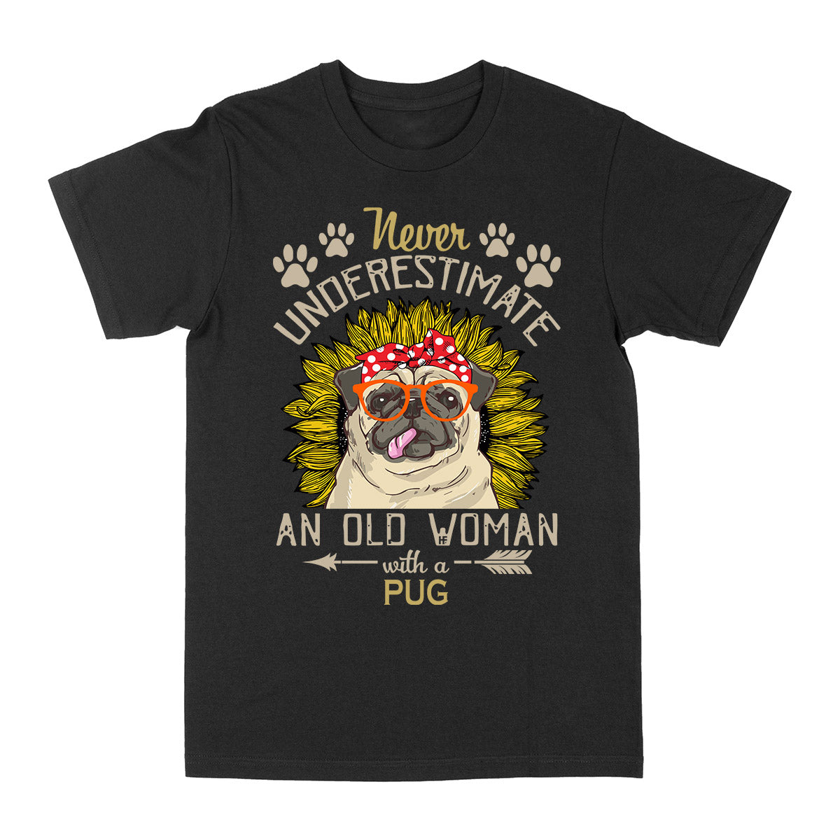 Never Underestimate An Old Woman With A Pug EZ06 0504 Classic T-shirt