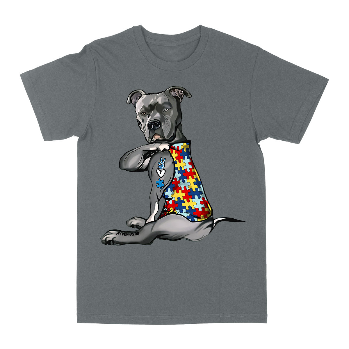 Pitbull 2 Autism Awareness Peace Love EZ06 0504 Classic T-shirt