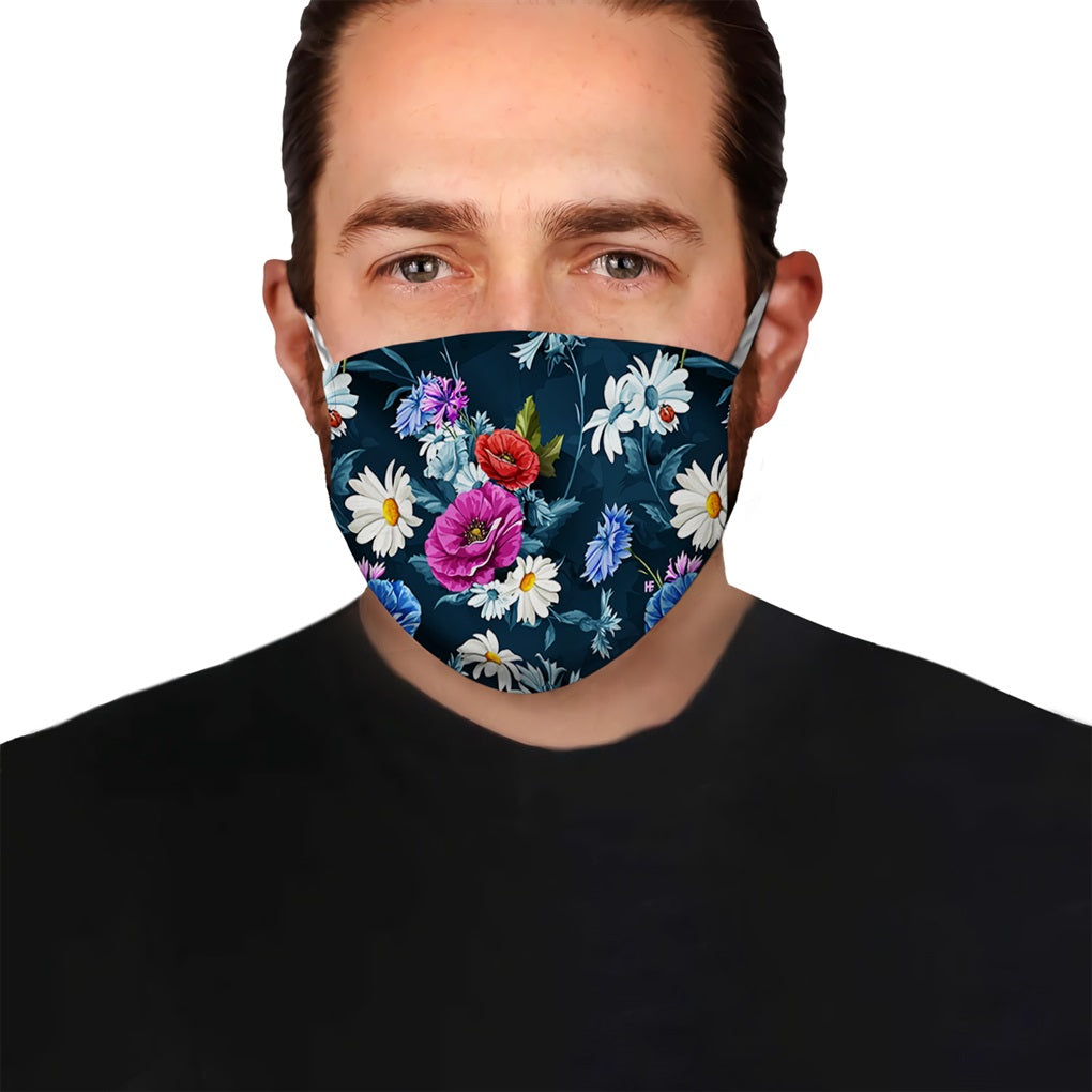 Colorful Flowers V2 EZ15 1806 Face Mask - Hyperfavor