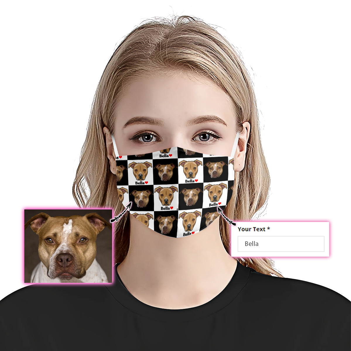 Customized American Pit Bull Terrier Face & Name Checkerboard EZ07 2205 Custom Face Mask - Hyperfavor