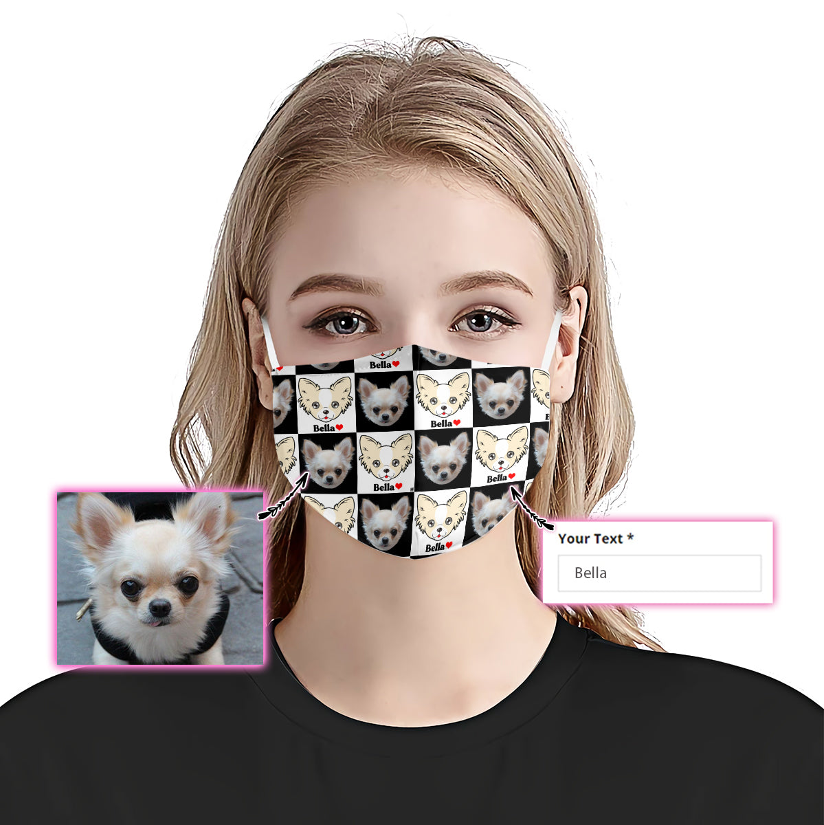 Customized Chihuahua Face & Name Checkerboard EZ07 2205 Custom Face Mask - Hyperfavor