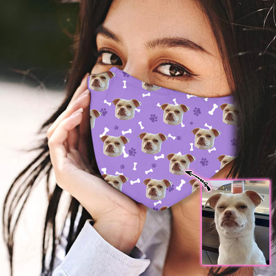 Custom Face Dog Purple Pattern EZ07 1805 Custom Face Mask - Hyperfavor
