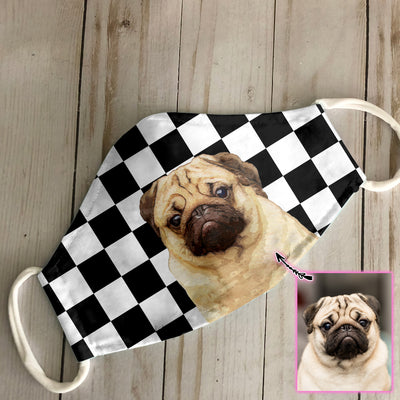 Customized Watercolor Dog Portrait Checkerboard EZ07 2205 Custom Face Mask - Hyperfavor