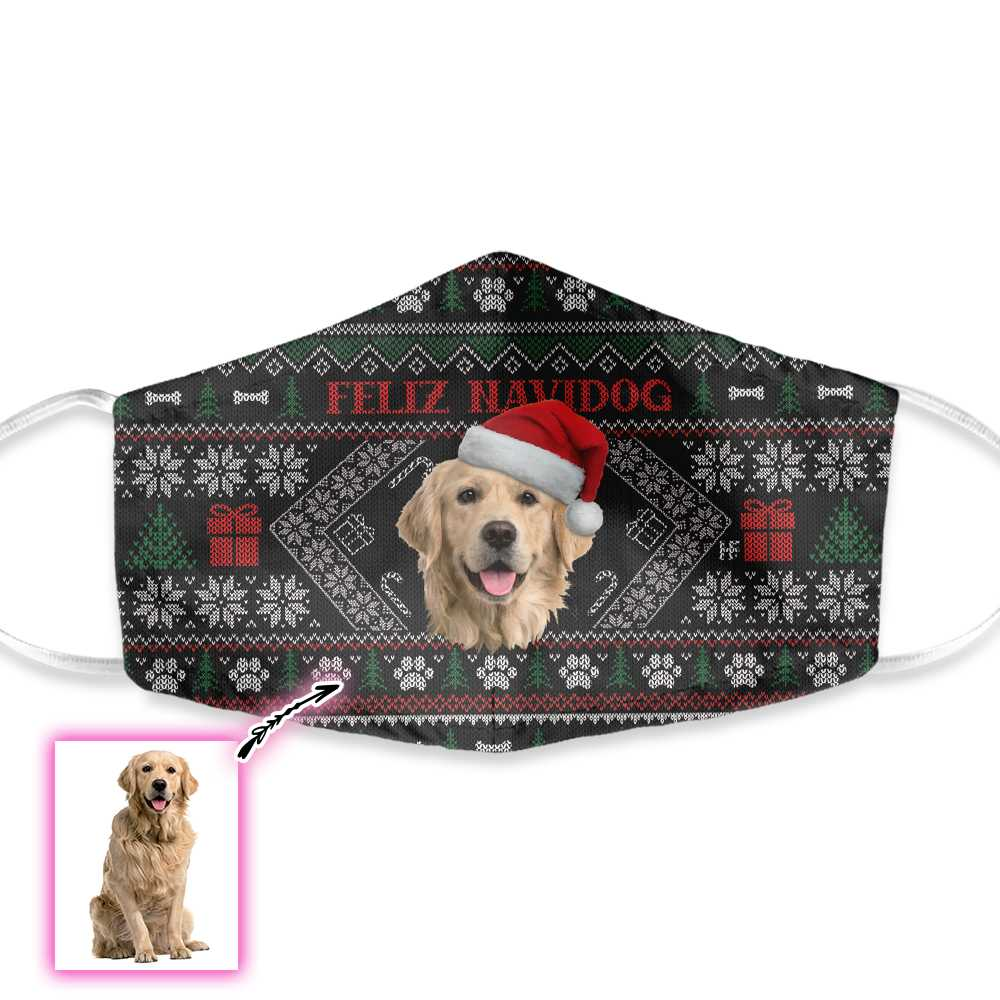 Customized Feliz Navidog Christmas EZ02 1110 Custom Face Mask