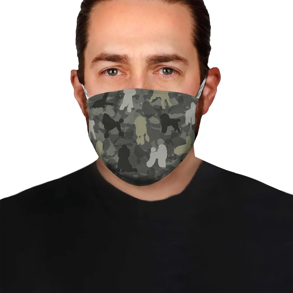 Cute Poodle Camo EZ07 1604 Face Mask - Hyperfavor