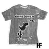 Dino T-rex 8 Bit Gray Background EZ07 1603 All Over T-Shirt - Hyperfavor