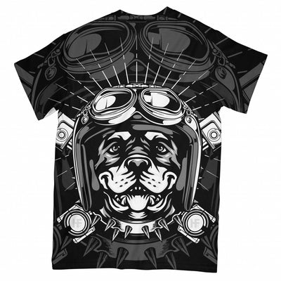 Rottweiler Dog Biker EZ02 3003 All Over T-shirt - Hyperfavor