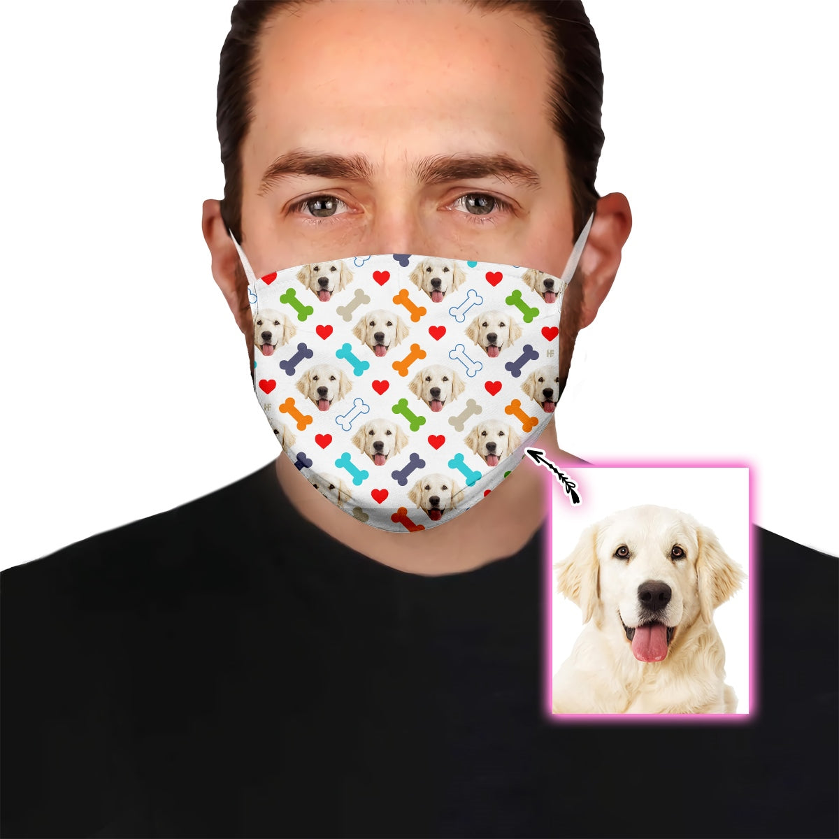 Golden Dog Bone Heart White EZ16 1706 Custom Face Mask - Hyperfavor
