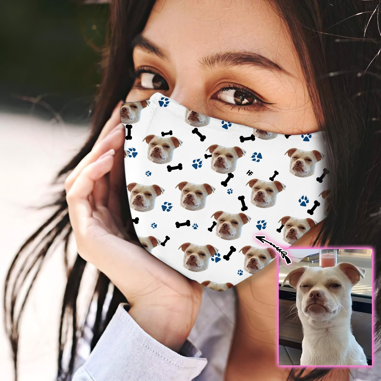 Custom Face Dog White Pattern EZ07 1805 Custom Face Mask - Hyperfavor