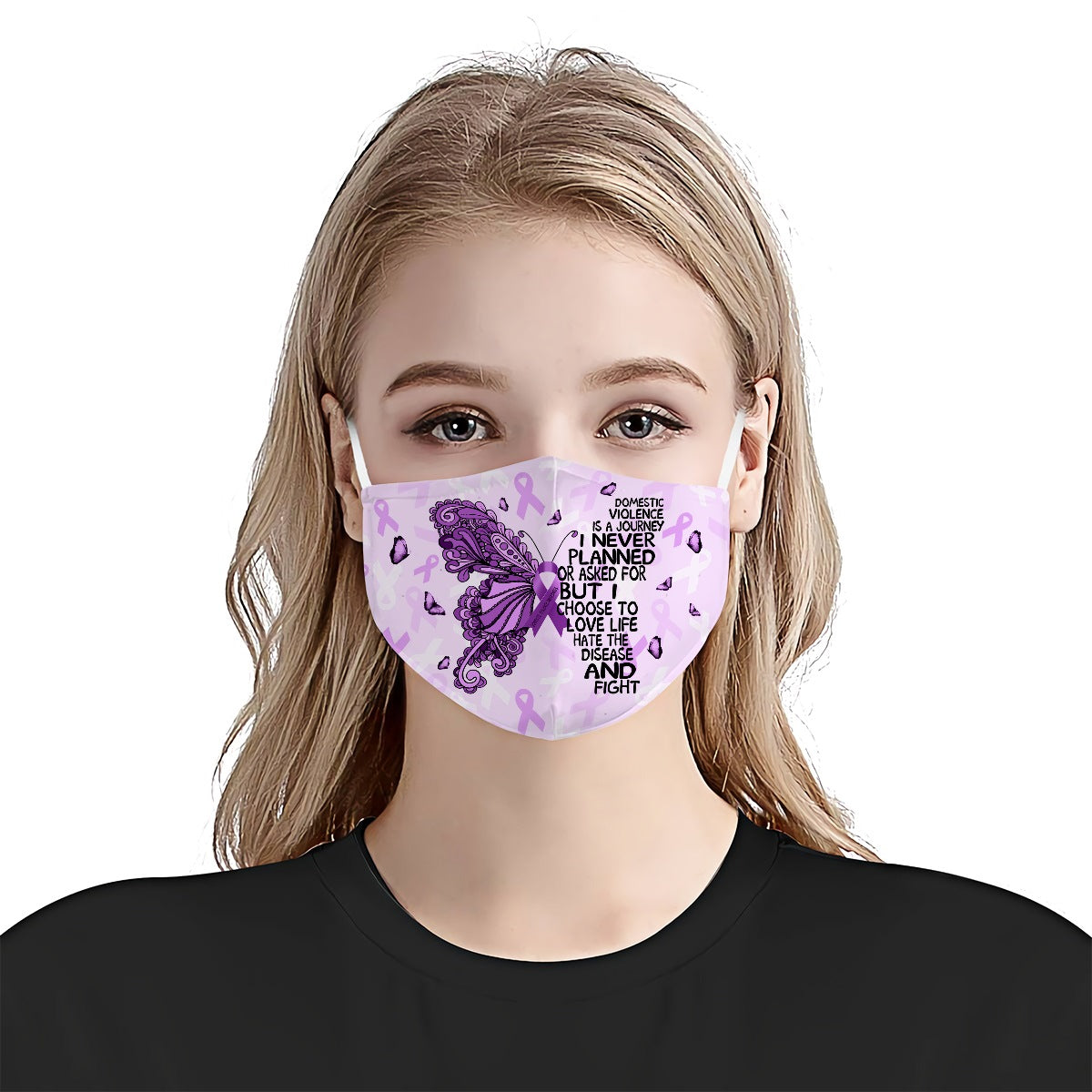 Domestic Violence Awareness Buffterfly Journey EZ01 2804 Face Mask - Hyperfavor