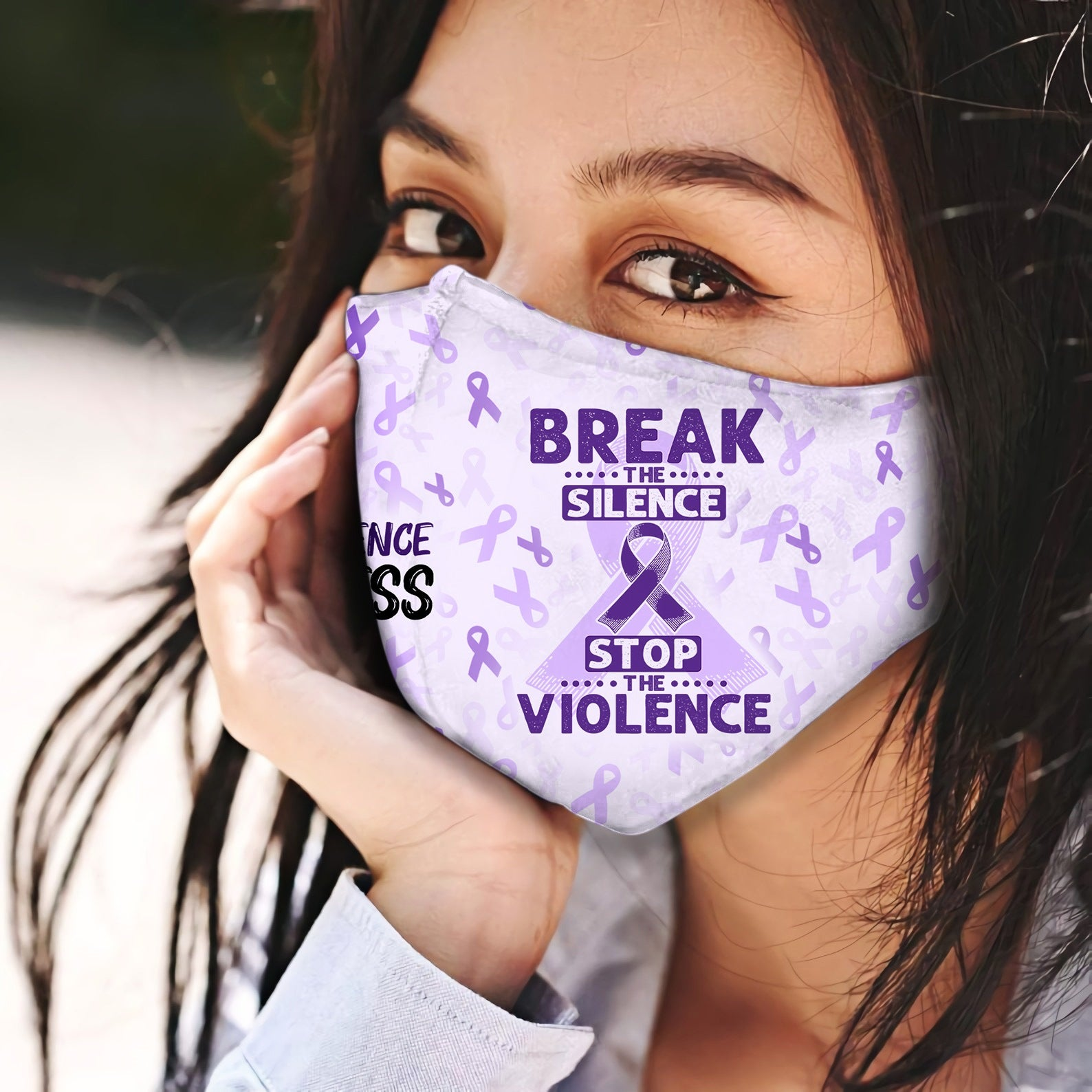 Domestic Violence Break The Silence EZ06 2504 Face Mask - Hyperfavor
