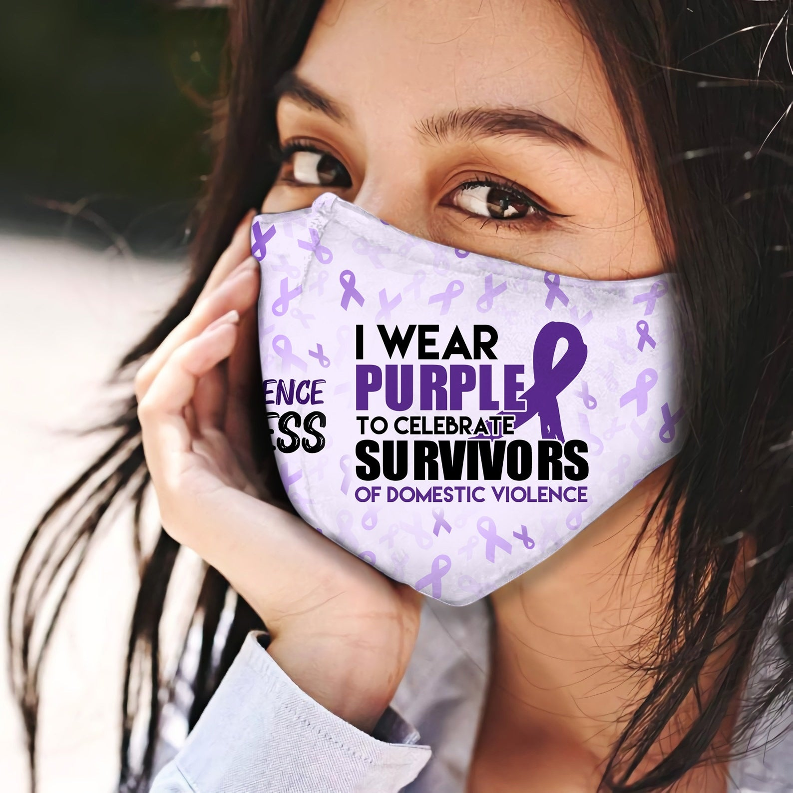 Domestic Violence I Wear Purple EZ06 2504 Face Mask - Hyperfavor