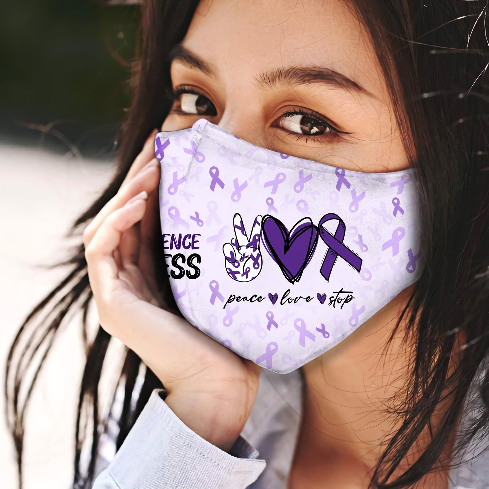 Domestic Violence Peace Love Stop EZ06 2504 Face Mask - Hyperfavor