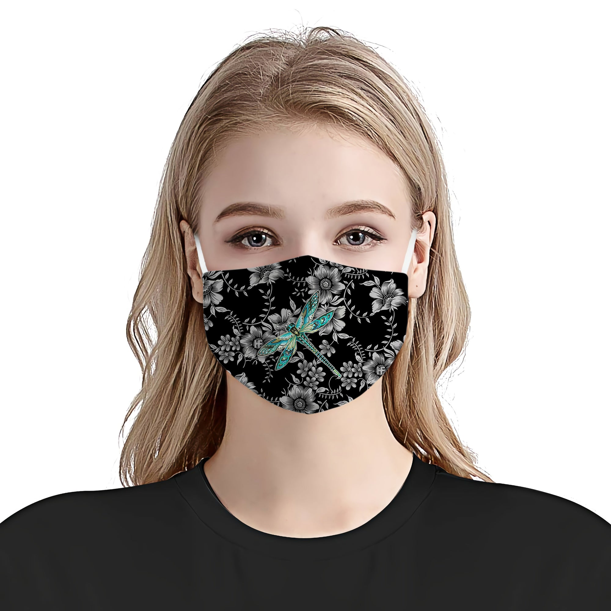 Dragonfly with flower all prints 7 EZ16 0206 Face Mask - Hyperfavor