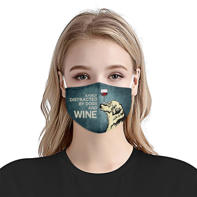 Easily Distracted By Dogs And Wine EZ03 1405 Face Mask - Hyperfavor