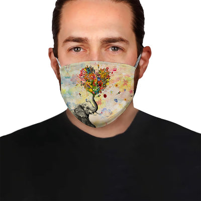 Elephant Spraying Floral Love EZ08 1305 Face Mask - Hyperfavor