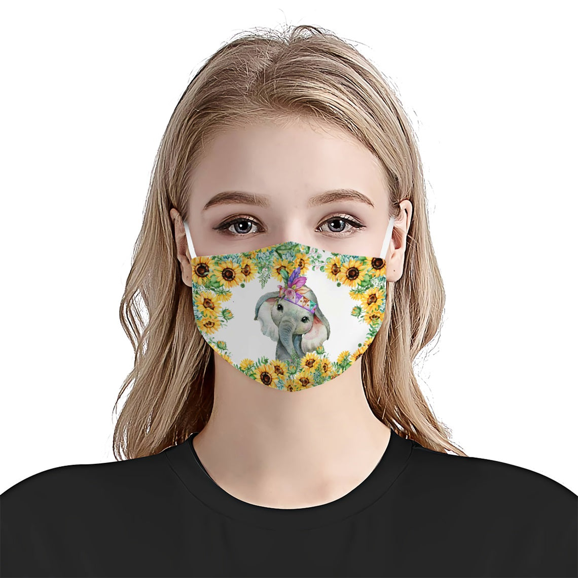 Elephant Sunflower EZ12 0406 Face Mask - Hyperfavor
