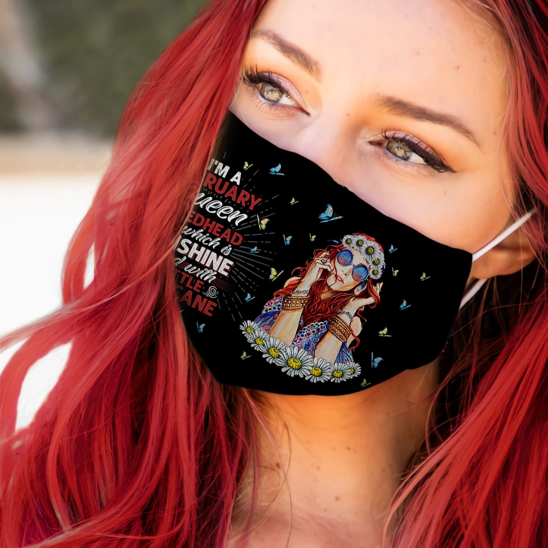 February Queen Redhead Three Side Black EZ06 1505 Face Mask - Hyperfavor