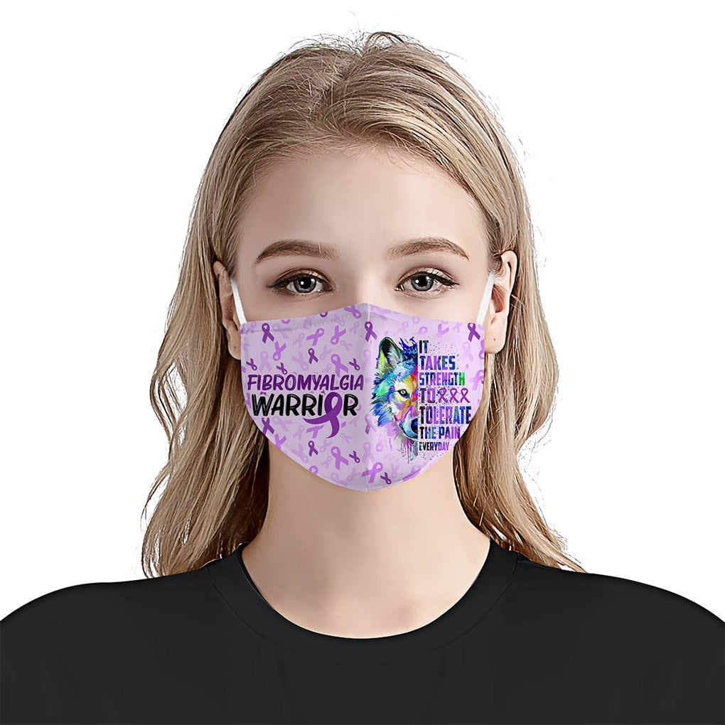 Fibromyalgia Awareness Wolf EZ01 Face Mask - Hyperfavor