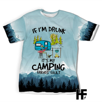 Flamingo It's My Camping Friends' Fault EZ03 1703 All Over T-shirt - Hyperfavor