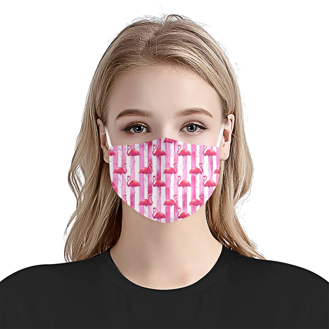 Flamingo Pink Stripes EZ08 1505 Face Mask - Hyperfavor