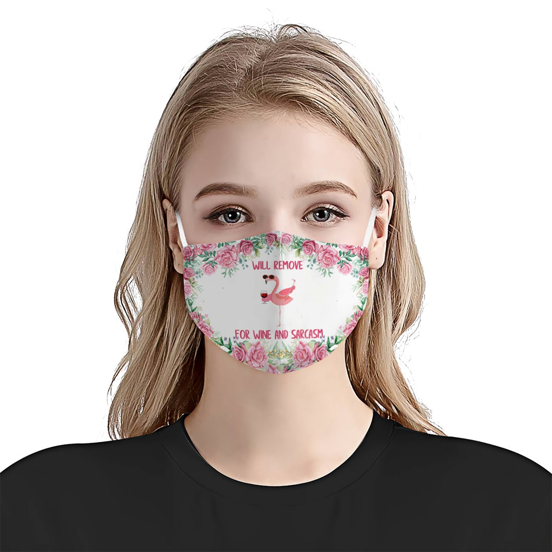 Flamingo Will Remove For Wine And Sarcasm EZ03 0708 Face Mask - Hyperfavor