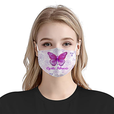Premium Floral Butterfly Cystic Fibrosis Awareness EZ09 1604 Face Mask - Hyperfavor