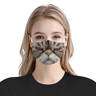 Funny Cat 2 Face EZ06 1304 Face Mask - Hyperfavor