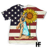 German Shepherd I Love Mom American Flag Sunflower EZ07 1603 All Over T-Shirt - Hyperfavor