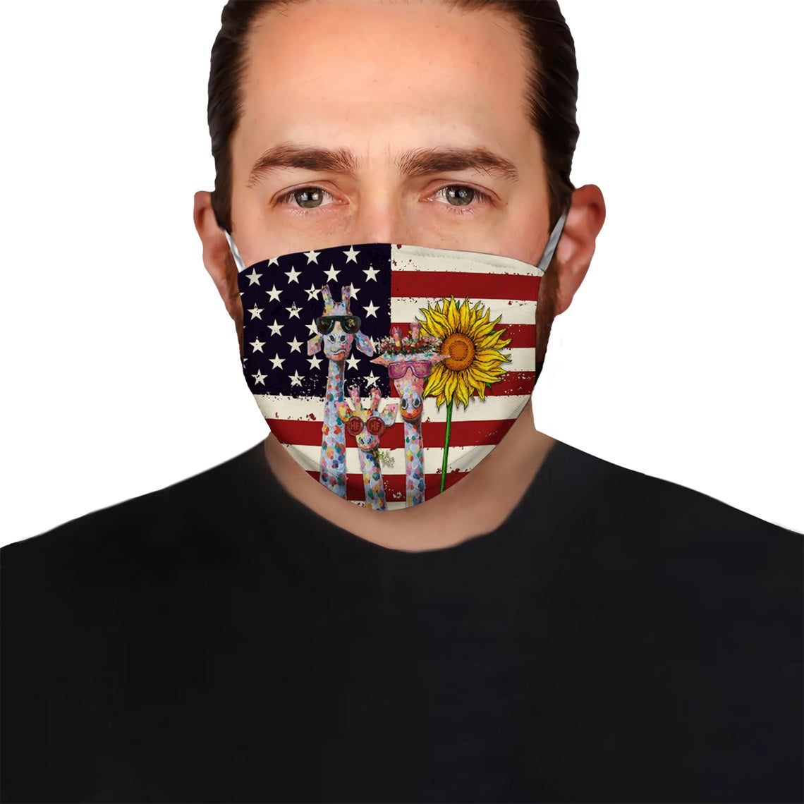 Triple Giraffe With American Flag EZ08 0506 Face Mask - Hyperfavor