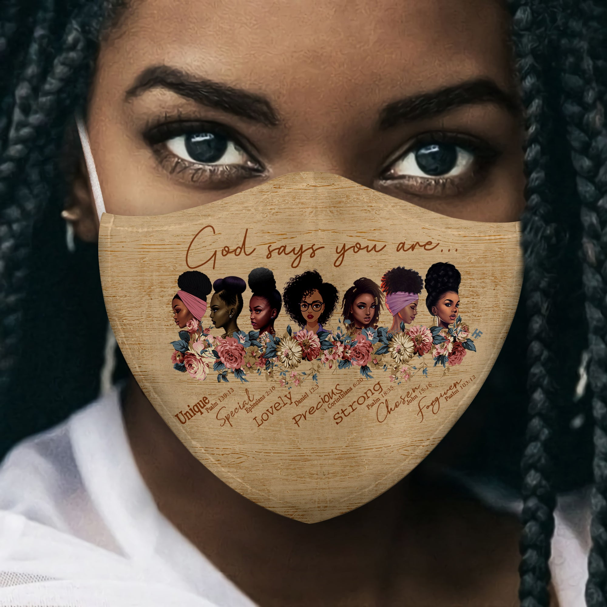 God says you are Black women EZ16 1906 Face Mask - Hyperfavor