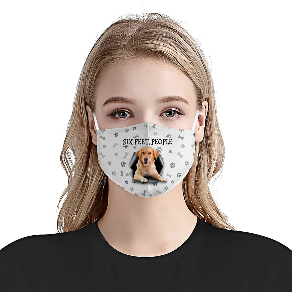 Golden Retrievers Six Feet People EZ16 2207 Face Mask - Hyperfavor