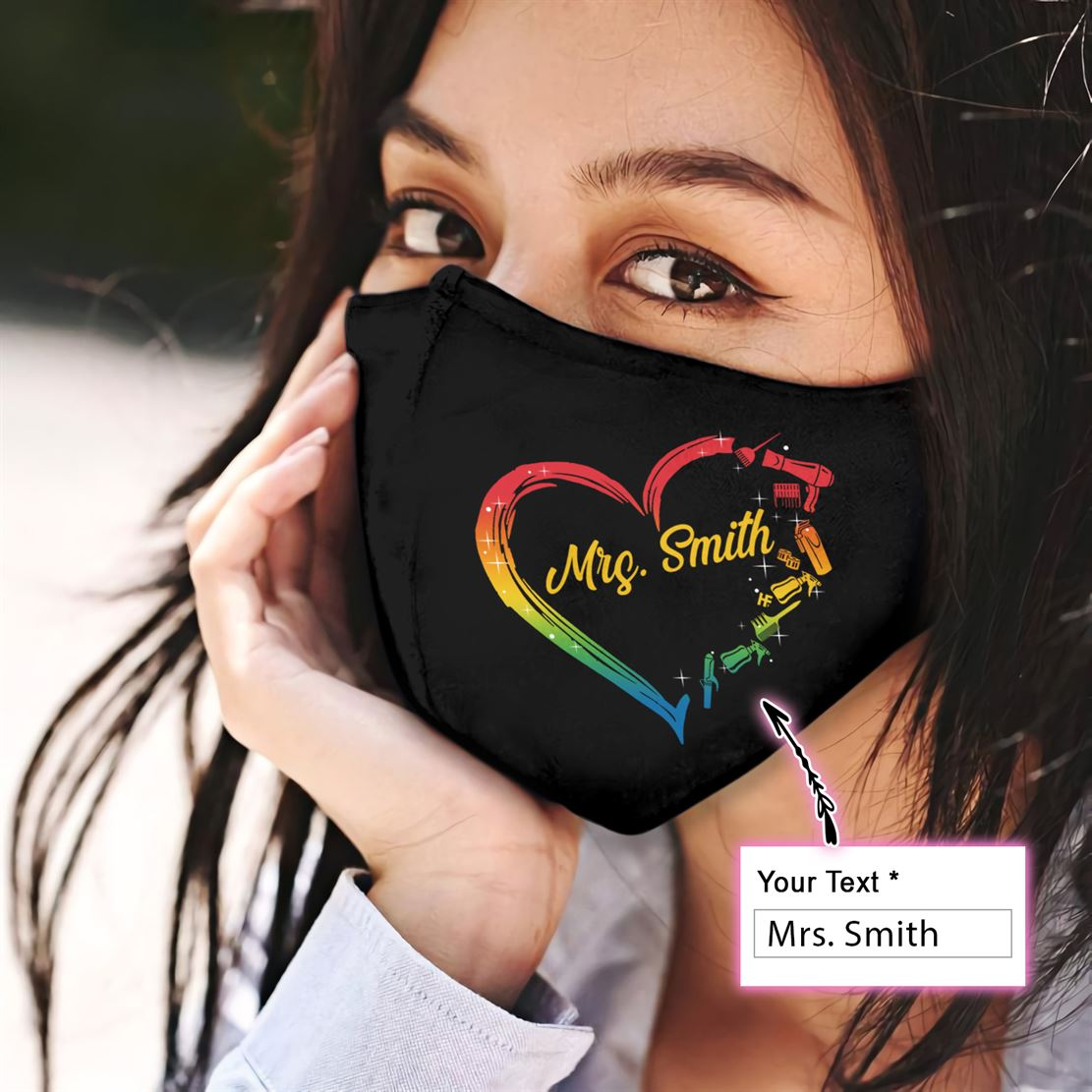 Hairstylist Heart Personalized EZ15 1807 Custom Face Mask - Hyperfavor
